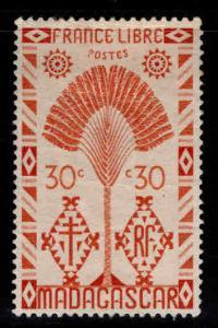 Madagascar Malagasy Scott 244 MH* Traveler's Palm tree 1943