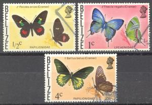 Belize Sc# 345-349 SG# 380,381,384 Used 1974-1977 Butterflies
