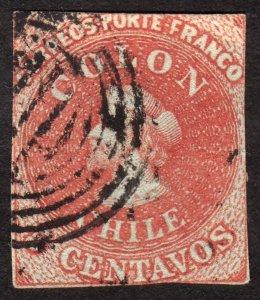 1853, Chile, 5c, Colombus, Used, Sc 1, Cv $125
