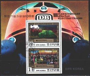 North Korea. 1980. bl87. The trains. USED.