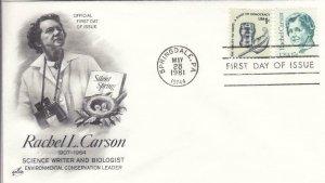 1981, Honoring Rachel L. Carson, Booklet Pane, Artcraft, FDC (D14887)