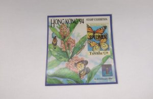 O) 1994 TUVALU, SPECIMEN, MONARCH BUTTERFLY, STAMP EXHIBITION HONG KONG. TOWE...