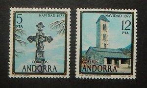 Spanish Andorra 100-01. 1977 Christmas, NH