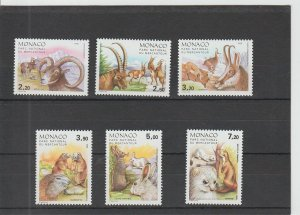 Monaco  Scott#  1533-1538  MNH  (1986 Wild Animals)