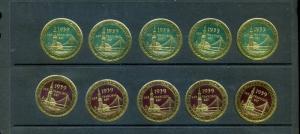 10 VINTAGE 1939 GOLDEN GATE EXPO GOLD METALLIC POSTER STAMPS SAN FRANCISCO (L915