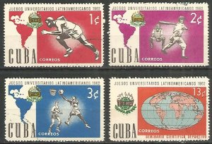 CUBA Sc# 753-756  UNIVERSITY GAMES sports  CPL SET of 4  1962 MNH