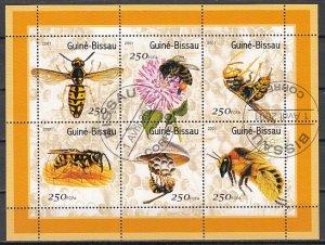 Guinea Bissau, Mi cat. 1510-1515 A. Honey Bees sheet. Canceled. ^