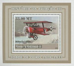 Mozambique Aviation Golden Age Fokker Dr. 1 Mini Sov. Sheet MNH
