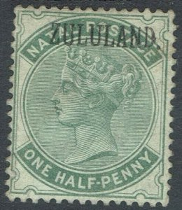 ZULULAND 1888 QV NATAL 1/2D WITH STOP