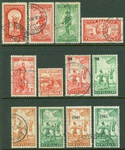 EDW1949SELL : NEW ZEALAND 1935-41 Scott #B8-19 Complete. Very Fine, Used Cat $69