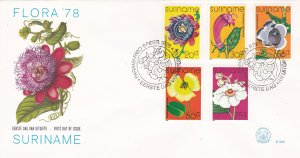 Suriname #  484-488, Flowers on a First Day Cover