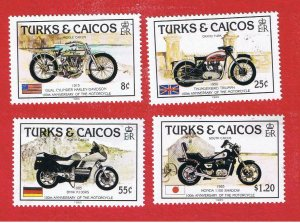 Turks & Caicos Islands #690-693  MVFLH OG  Motorcycles   Free S/H