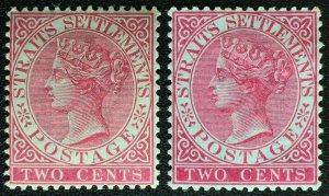 MALAYA 1883 & 89 STRAITS SETTLEMENTS QV 2c CA Variety MH SG#63 & 63a M2694