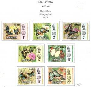 MALAYSIA Kedah Scott 111-119 MH* Butterfly stamp set 1971