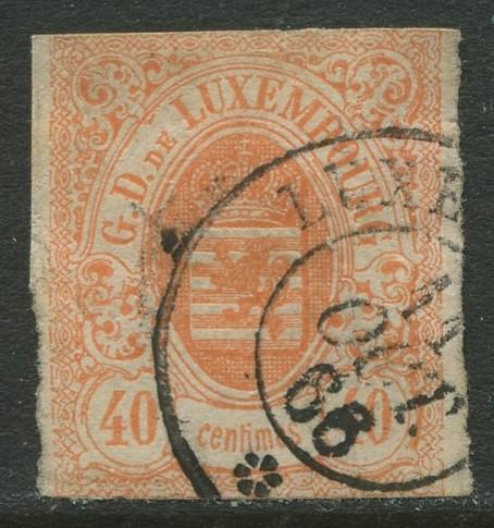Luxembourg - Scott 12 - Coat of Arms - 1859 - FU- Single 40c Stamp