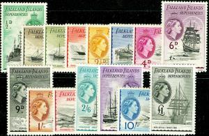 FALKLAND ISLANDS SGG26-G40, COMLETE SET, LH MINT. Cat £225.