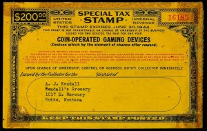 U.S. REV. STAX -COIN OPER. GAMING DEVICES FYE 1944  Used (ID # 61912)- L