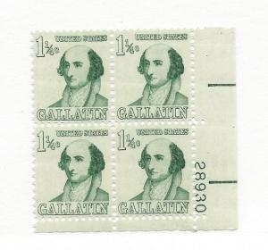 United States, 1279, 1 1/4c Albert Gallatin Plate Block of 4 #28930 LR, MNH