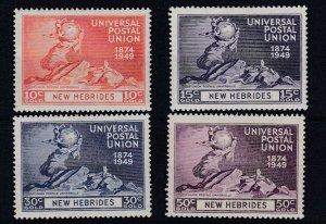 NEW  HEBRIDIES    1949  UPU SET OF 4  MH