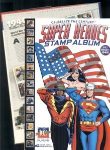 CELEBRATE THE CENTURY SUPER HEROES STAMP ALBUM, BOOK V 1940-1949 WITH STAMPS