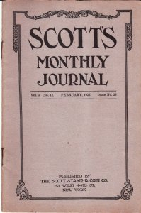 Scott's Monthly Journal February 1923 Stamp Collecting Magazine