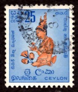 Ceylon/Sri Lanka 1954 Sigiriya fresco, Woman Flowers 25c Scott.322 Used (#7)