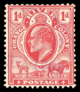 Orange Free State 1903 KEVII 1d scarlet showing WATERMARK INVERTED vfu. SG 140w.