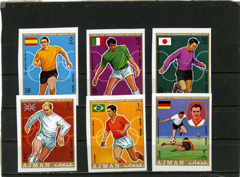AJMAN 1970 Mi#525-530B SOCCER WORLD CUP MEXICO SET OF 6 STAMPS IMPERF.MNH