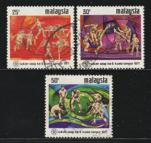 MALAYSIA 1971 6th South East Asian Peninsular Games Kuala Lumpur 3V USE SG#92-94