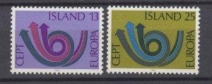 J29758, 1973 iceland set mh #447-8 europa