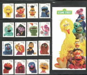 5394 (a-p) Sesame Street Set Of 16 Singles With Panel Mint/nh FREE SHIPPING