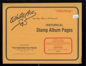 2007 White Ace U.S. Regular Issue Plate Number Stamp Supplement Pages USR-PB38