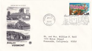 2002, Greetings from Vermont, PCS, FDC (E11339)
