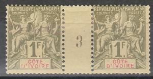 IVORY COAST 1892 TABLET 1FR GUTTER PAIR