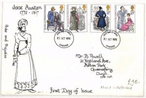 AO142 1975 GB HAND-ILLUSTRATED FDC First Day Cover *Jane Austen* {samwells}