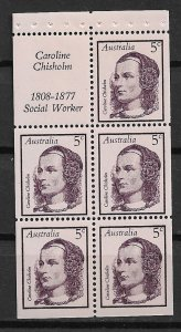 1968 Australia 447a Caroline Chisholm MNH booklet pane