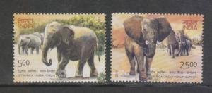 India 2011  # 2525-2526  Elephants  Africa India Forum Summit  2v  MNH    02644