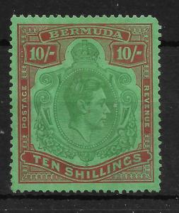 BERMUDA SG119b 1942 10/= YELLOW-GREEN & RED ON GREEN MTD MINT