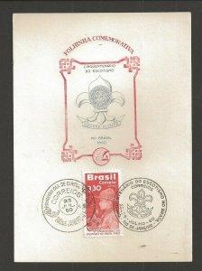 1960 Brazil Scout 50th anniversary FDC Rio de Janeiro maximum card