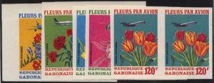Gabon - Rare 1971 Flowers Imperf. Pairs - 5 Values mint