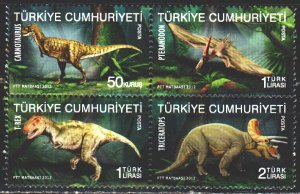 Turkey. 2012. 3966-69. Dinosaurs. MNH.