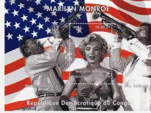 Congo Kinshasa 2001 Marilyn Monroe/Music-Americana Souvenir Sheet Perforated MNH