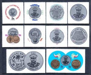 Tonga - Scott #362-366, C179-C183 - MNH - SCV $13.25