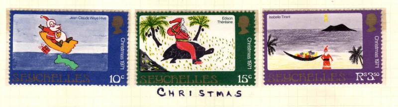 Seychelles Scott 291-293 MNH** Christmast set 1971
