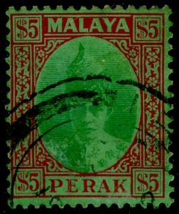 MALAYSIA - Perak SG121, $5 grn & red/emerald, FINE USED. Cat £475.