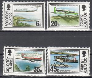 Solomon Islands, Sc # 341-344, MNH, 1976, Anniv of 1st Flight to Islands