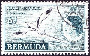 BERMUDA 1953QEII 6dBlack & Deep Turquoise SG151 FU