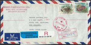 SOLOMON IS 1996 Registered airmail cover to NZ, ex Honiara, Crabs..........12091
