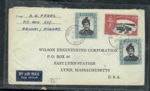 BRUNEI COVER (P1608B)  1960 $2.00+15CX2  A/M COVER TO USA