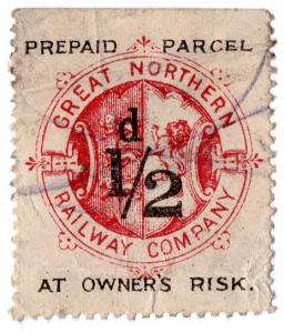 (I.B) Great Northern Railway : Prepaid Parcel Stamp ½d (Owner's Risk)